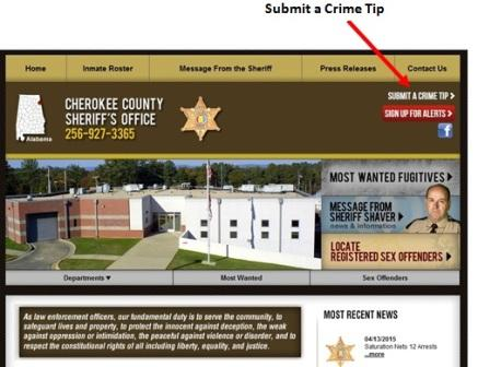 Cherokee County Sheriff's Office website home page with the new submit a crime tip button above the red signup for alerts button