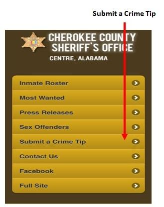 cherokee county sheriff's office mobile website with a red arrow showing the new submit a crime tip button