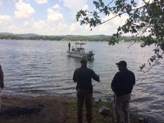 Cherokee County Rescue Squad members retrieving vehicles from Weiss lake