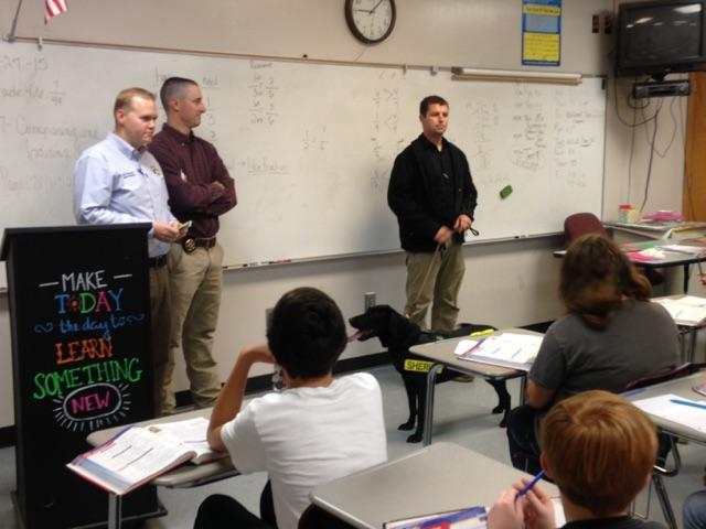 Investigators and Keelo from Cherokee County Sheriffs Office talk to students during Red Ribbon Week