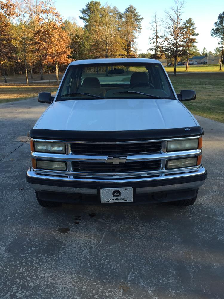 white 1995 Chevrolet Z71 pick-up truck that was stolen December 7, 2015 - front