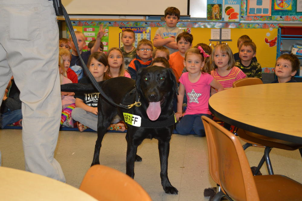 K9 Keelo with class of young students
