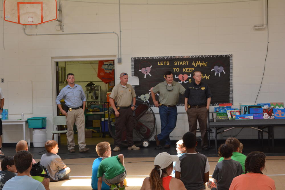 Investigators with the Cherokee County Sheriff office during the presentation at Centre Elementary school
