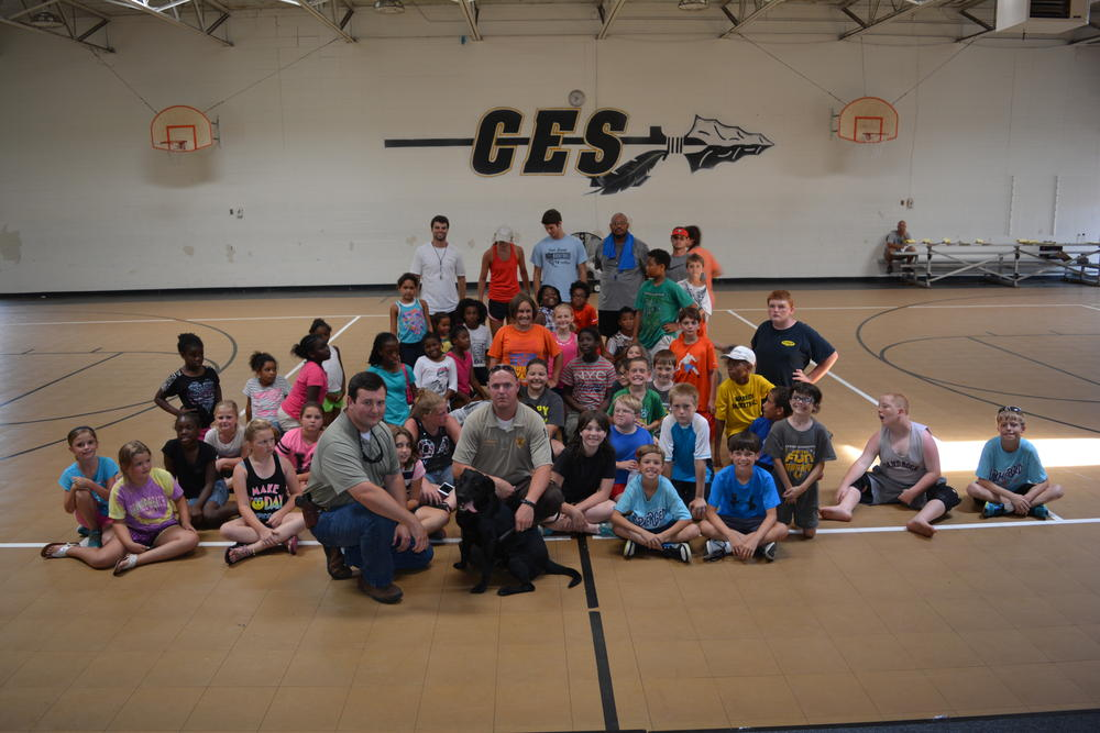 Students at Centre Elementary School with Cherokee County investigators and Keelo