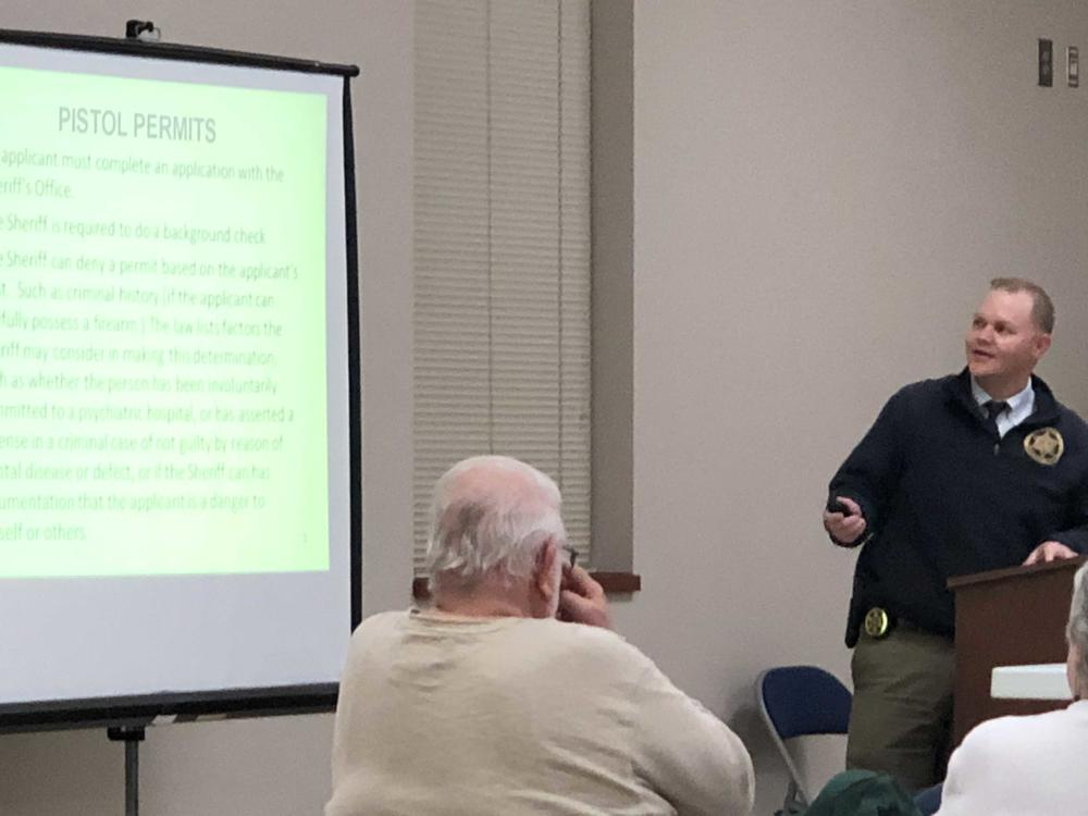Josh Summerford presenting at the citizen's firearms safety class on January 22, 2019