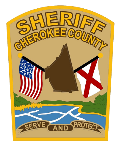 Cherokee County Sheriff's Office patch, with the US flag, state of Alabama, and Alabama state flag suspended over a lake and the phrase Serve and Protect at the bottom