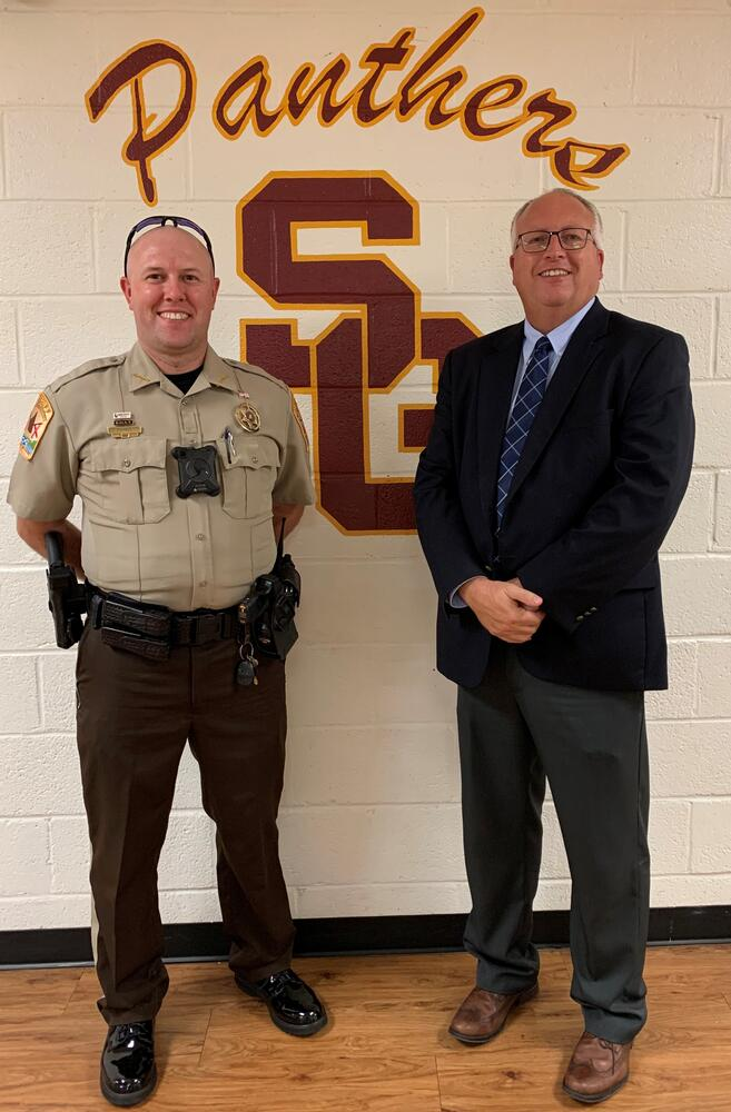 Deputy Parris with Principal Welsh
