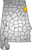 Map showing Cherokee County location within the state of Alabama